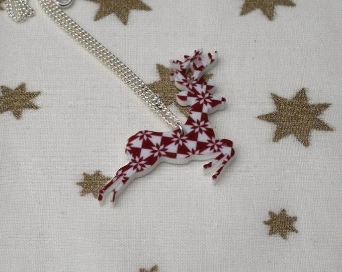Fair Isle Reindeer Necklace, Christmas Deer Illustration Necklace