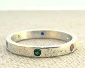 Mothers Day Birthstone Ring - Name and Birthstone Ring - Mother Ring - Mother's Day Gift