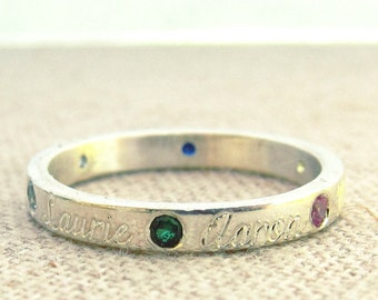 Birthstone - Mom - Mom Gift - Mothers Day Birthstone Ring - Name and Birthstone Ring - Mother Ring - Mother's Day Gift