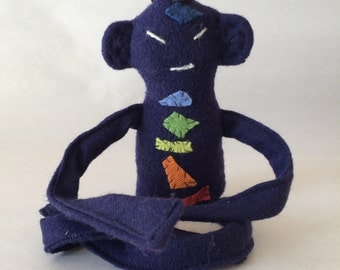 Tiny Zen Buddha Doll #45, Deep Purple Indian Wool with Cashmere Chakras, Removable Wool Robe OOAK, Numbered and Signed