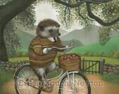 "Hedgehog Art, Hedgehog on Bicycle Painting, Forest Animal Fine Art Print, ""Arthur"""