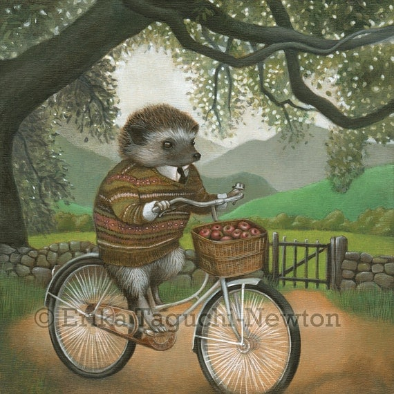 "Hedgehog Art, Hedgehog on Bicycle Painting, Forest Animal Fine Art Print, ""Arthur"""