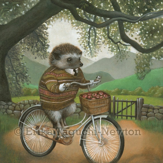 "Hedgehog Art, Hedgehog on Bicycle Painting, Forest Animal Art Print, ""Arthur"""