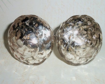French Country Large Mercury Glass Silver Ball Pine Cone Drawer Knob Pulls Set of 2