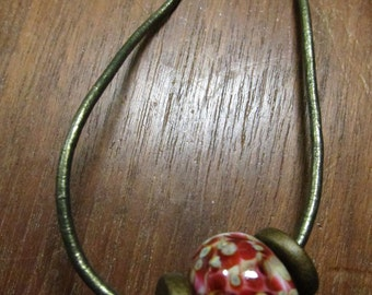 Murano Glass Bead Leather Necklace