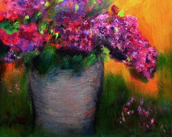 Art Painting #Flowers Blooming Lilacs #Original Art #Decorative Wall Art #'Impressionistic Still Life