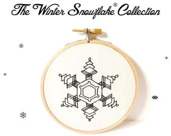 The Winter Snow Flake Collection ~ Fig 67. PDF Instant Digital Download  Snow Crystal Embroidery Pattern ePattern .