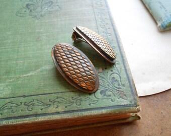 copper snake skin copper and brass earrings clip on earrings  modern minimal vintage jewelry