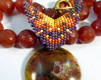 SALE Play With Fire - Carnelian & African Green Opal Necklace