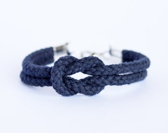 Matte navy blue forever knot nautical rope bracelet // other colors available