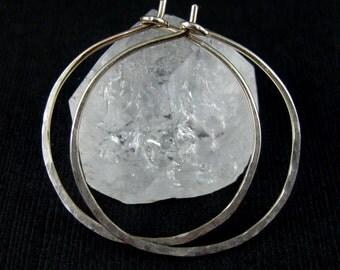 Sterling Silver Hoop Earrings - Hammered Silver - Handmade Hoop Earrings - Handmade Silver Hoops