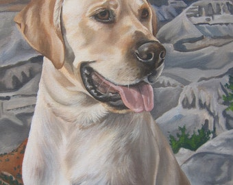 Yellow Lab Custom Portrait, Custom Dog Painting, size 8 x 10