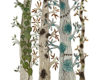Trees in the Forest Print, nature art, woodland watercolor print, giclee art print, watercolour