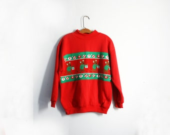 vintage 80s Slouchy Ugly Christmas Sweatshirt Sweater Mice in Sweaters Carrying Gifts & Ornaments Novelty S/M