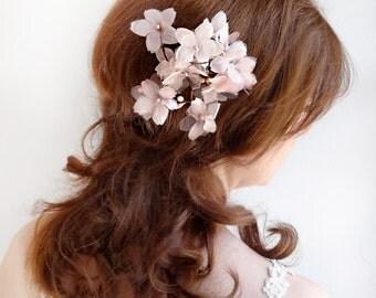 bridal hair accessory, blush bridal hair clip, wedding hairpiece, floral hair clip, cherry blossom, pink and gold, hair grip, silk organza