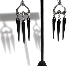Gothic Earrings // Black Spike Earrings // Gothic Jewelry // Spike Jewelry