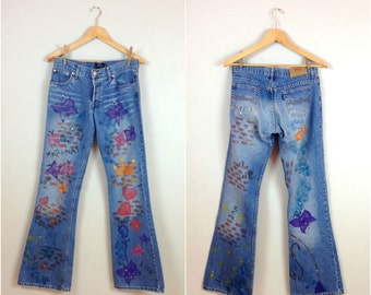 Vintage upcycled painted jeans / Painted flare jeans / hand painted denim