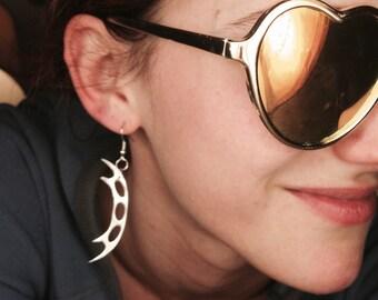 Klingon Bat'leth Shiny Silver Acrylic Lasercut Earrings. Star Trek Costume Cosplay Geek Girl Accessory. GeekStar Jewelry Exclusive.
