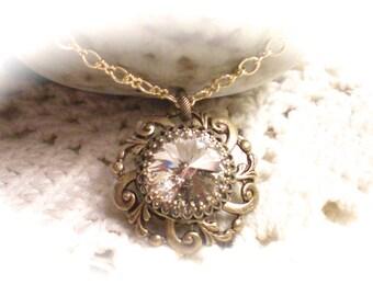 C R I S T A L ~ Antiqued Brass Swarovski Rivoli Necklace