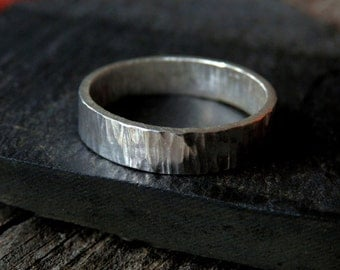 Sterling men's ring / gents ring / textured sterling silver ring / silver wedding ring / recycled silver ring / wide wedding ring