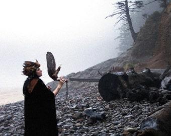 Magic High Priestess Horn Headdress Art Photography Shaman Mist Seashore Wiccan Pagan Greeting Card NETHERWORLD SEEKER by Spinning Castle