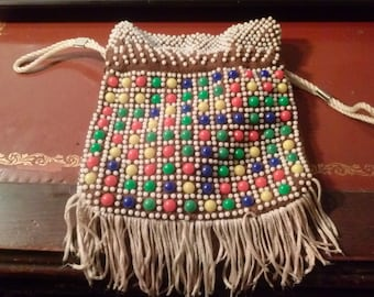1970s beaded vintage drawstring purse/clutch