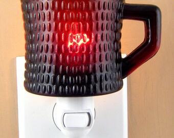 "Dark Ruby Red Glass Coffee Mug 3"" High  Custom Made Night Light"