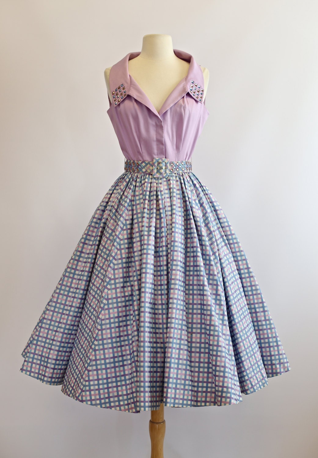 Vintage 1950s Cotton Dress 50s Sundress With Full Skirt
