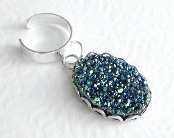 Blue Crystal Ear Cuff: Metallic Titanium Jewelry, Druzy Cartilage Earring