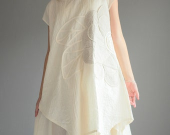 Artistic collection...Sunflower layers dress .... Ivory  (1160)