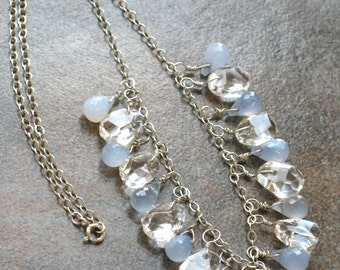 Blue Chalcedony, Rock Crystal Quartz, Argentium Sterling Silver Wire Wrapped Gemstone Briolette Necklace by Penny's Treasures - Glacier