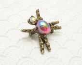 Small Vintage Bug Pin Brooch Rhinestone Jewelry P6563