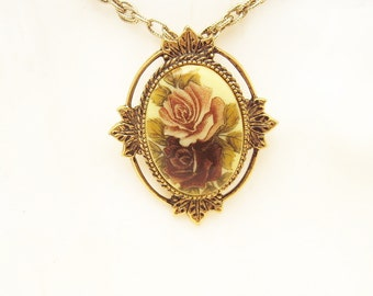 Rose Pendant Coventry Necklace Vintage Jewelry N6179