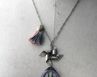 Circus Lion Pendant, Pinwheel Necklace, Carnival Tassel, Whimsical, Rainbow Stripes