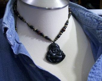 Buddha Black New Jade  Amulet Pendant Adjustable Necklace