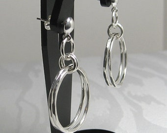 Hoop, Double Hoop Hammered Sterling Silver Dangle Earrings with Post-Perfect Christmas Gift and Stocking Stuffer