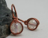 Pale Pink Glow in the Dark  Earrings Copper Glass Wire Wrapped Illusion Earrings