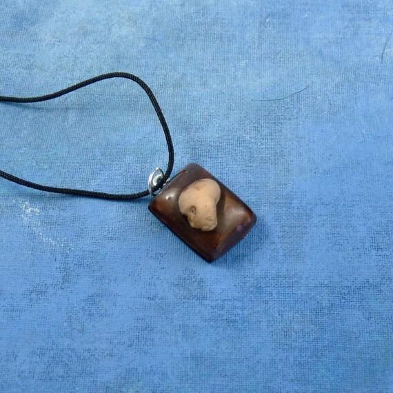 Skull Encapsulated Specimen Egg Necklace, Handmade Jewelry