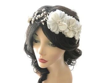 wedding headband, vintage flower headpiece, bridal crown, floral wreath, woodland wedding, hair accessory