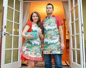 Reversible Bib Style Apron with Retro Campers Full Length (Adult, Mens, Plus Size, Child, or Baby)