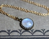 Rainbow Moonstone Necklace Crown Setting Antiqued Brass or Gold Chain Moonstone Cabochon Necklace 12mm