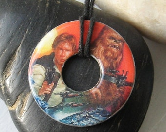Han Solo and Chewbacca Vintage Upcycled Papers Pendant Hardware Necklace Star Wars Sci-Fi