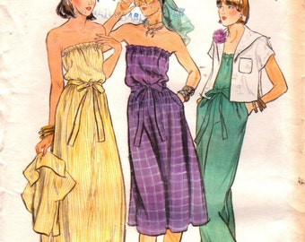 1970s Vogue 9540 Misses  STRAPLESS  Dress Jumpsuit Sailor Collar Jacket Pattern Womens Vintage Sewing Pattern Size 8 Bust 31 UNCUT