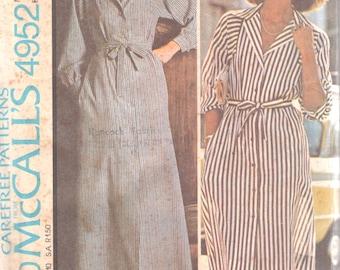 1970s McCalls 4952 Misses HALSTON Dress Pattern Womens Vintage Sewing Pattern Size 12 Bust 34 UNCUT