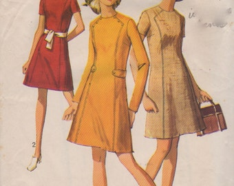 1960s Simplicity 8491 Misses A Line Dress Pattern Front Seam Interest Womens Vintage Sewing Pattern Size 14 Bust 36