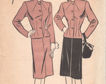 Advance 4103 1940s Misses Suit Pattern Skirt and Jacket Pattern Funnel Neck Seam Interest Womens Vintage Sewing Pattern Size 16 Bust  304