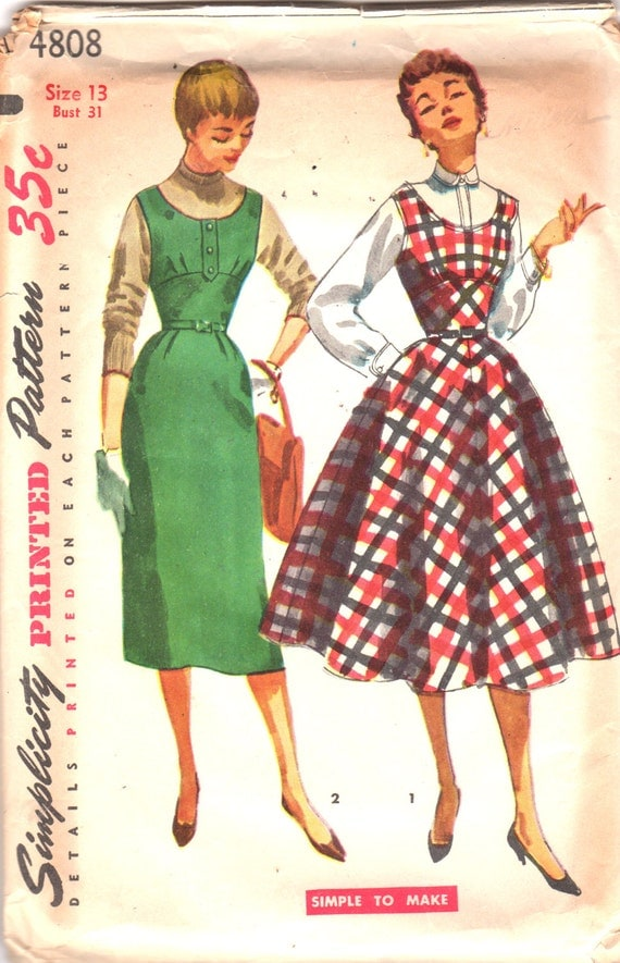 Simplicity 4808 1950s Junior Rockabilly EASY Midriff Jumper Pattern Full or Slim Skirt Womens Vintage Sewing Pattern Size 13 Bust 31 UNCUT