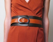 TWO TONE WIDE leather belt