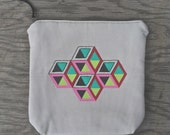 Hand Painted Isometric Cube Zipper Pouch- Device Bag- Clutch