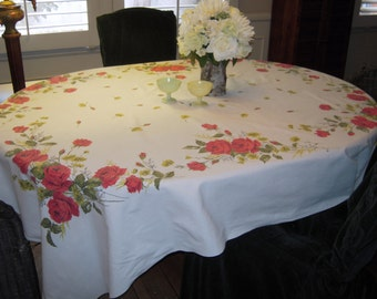 Vintage Tablecloth Beautiful Red Roses